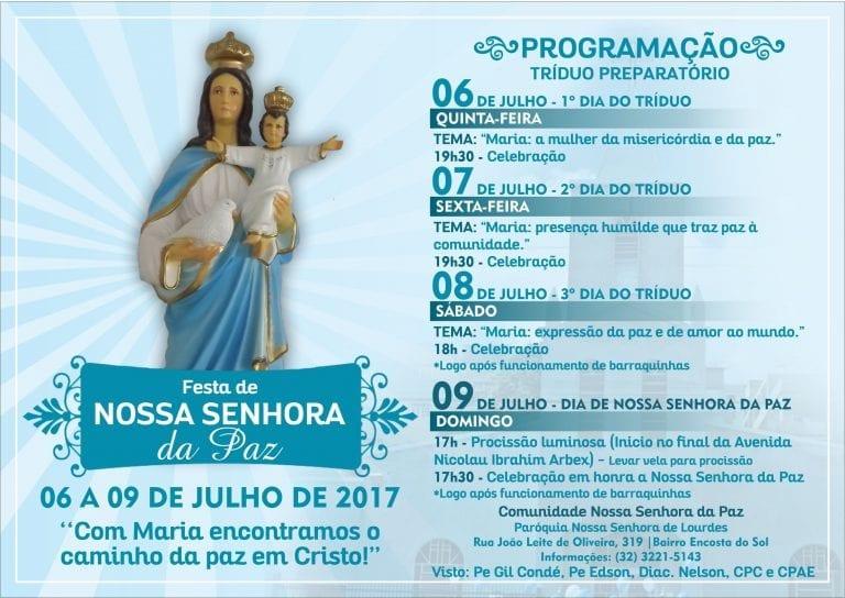 Cartaz Festa de Nossa Senhora da Paz curva